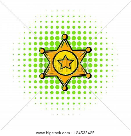 Golden sheriff star badge icon in comics style on a white background