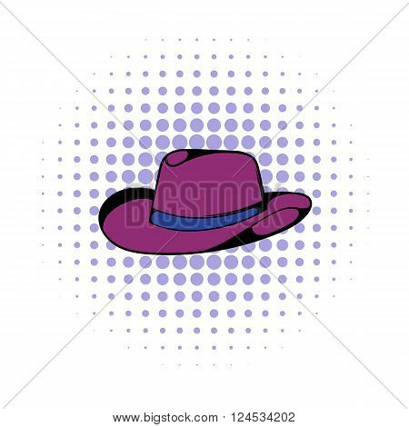 Cowboy hat icon in comics style on a white background