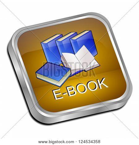 glossy orange E-Book Button on white background