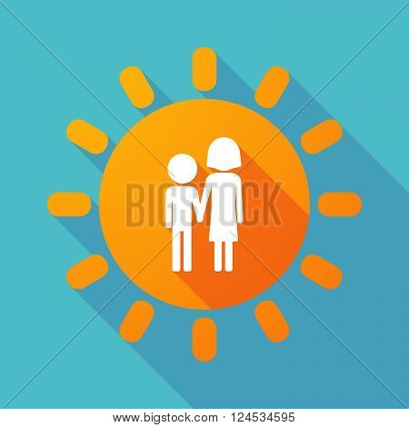 Long Shadow Sun With A Childhood Pictogram
