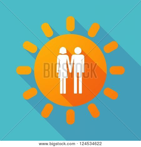 Long Shadow Sun With A Heterosexual Couple Pictogram