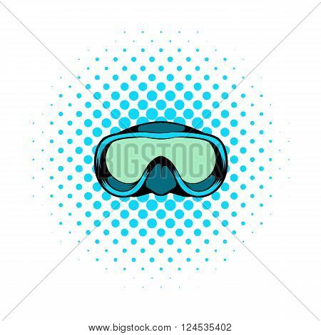 Diving mask icon in comics style on a white background