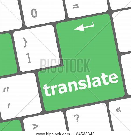 Multilingual Translation On-line Concept. Close Up Of Multi Language Keyboard And Translate Word Key