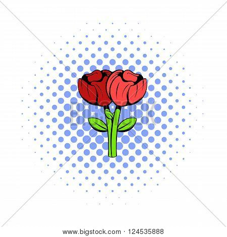 Bouquet of two flowers icon in comics style isolated on white background