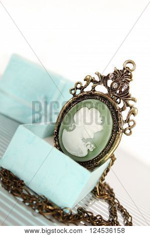 Close-up of vintage jewelry in gift box