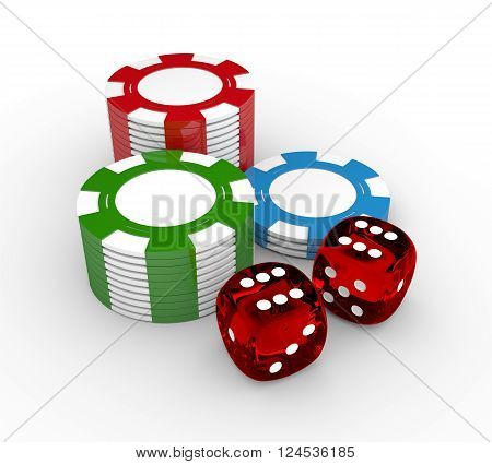 3d game dices and gambling chips lying on white desk