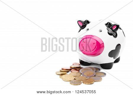 Piggy bank and euro coins isolated on white