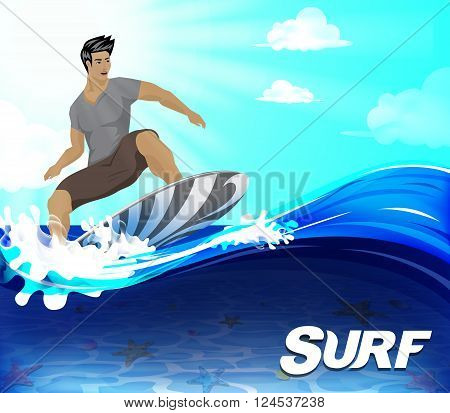 Surfer Surfing Design Over the Wave Underneath is the Seabed on the Summer Season, Vector Illustration.