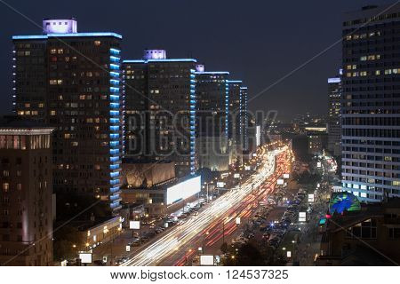 Beautiful Night Highway New Arbat at night in Moscow, long exposure