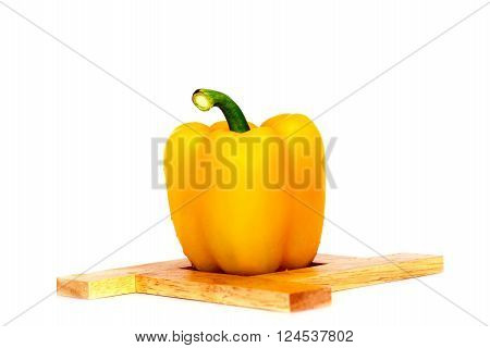 Yellow bell pepper vegetarian recipe paprika spice isolate on white background