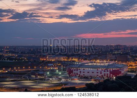 Stadium Spartak and panoramic view of evening Moscow, Russia