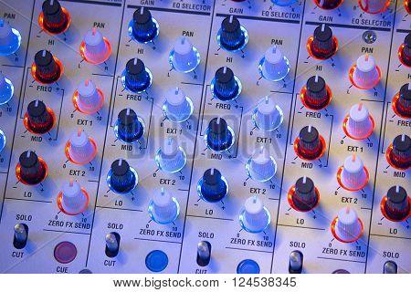 Close-up Part of an audio sound mixer