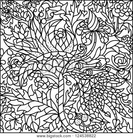 Black-white stained-glass window flowers. Vector abstract illustration