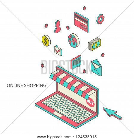 Isometric illustration from online shop, buy things via the web, purchase products through modern technology, modern flat art to the concept of web sales and payment