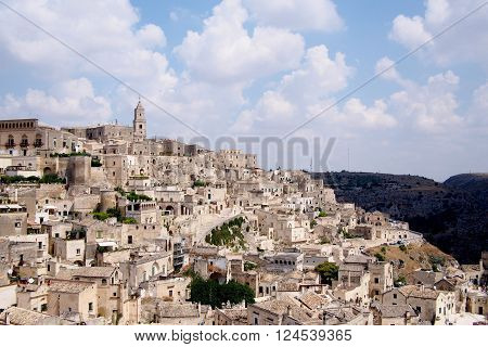Matera southern italy village with landmark landscape