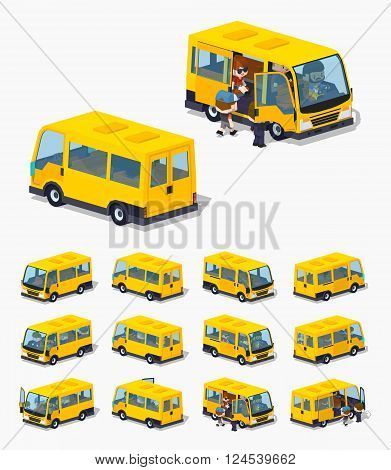 Passenger minivan. 3D lowpoly isometric vector illustration. The set of objects isolated against the white background and shown from different sides