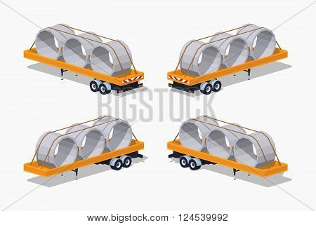Yellow trailer with concrete rings on it. 3D lowpoly isometric vector illustration. The set of objects isolated against the white background and shown from different sides