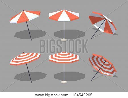 Sun umbrellas. 3D lowpoly isometric vector illustration. The set of objects isolated against the grey background and shown from one side