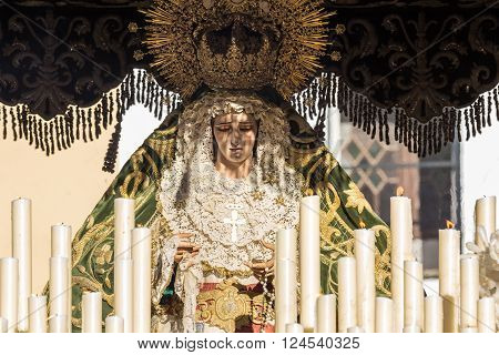 Holy Week in San Fernando Cadiz Spain. Our Lady of Grace and Hope Crowned. This Brotherhood goes in procession on Tuesday of Holy Week during the celebration of this important religious.