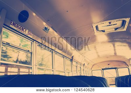 Interior of an old school bus, vintage filter