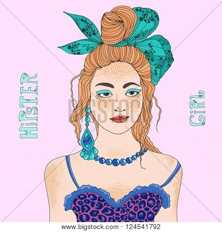Vector hand drawn portrait of a young redhead stylish girl. Hipster Girl with freckles, her red hair collected in bunch with a large bow, top bodice with leopard print, jewelry earrings and necklace.