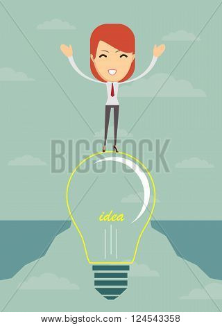 Businesswoman on a bulb cross an abyss - the idea of a businessman helped to bridge the gap. Vector illustration.