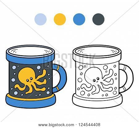 Coloring Book For Children. A Cup With Octopus