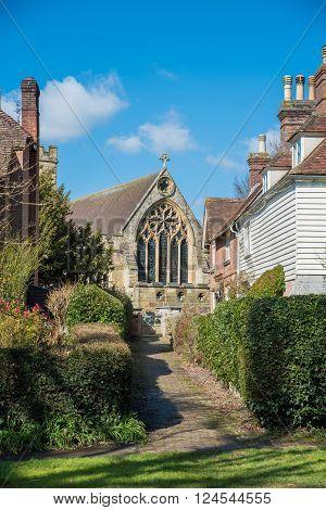 Old church in the village of Hawkhurst KentUK
