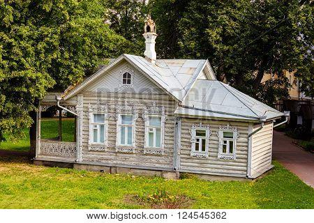 Wooden summer house in the Vologda Kremlin. Russia