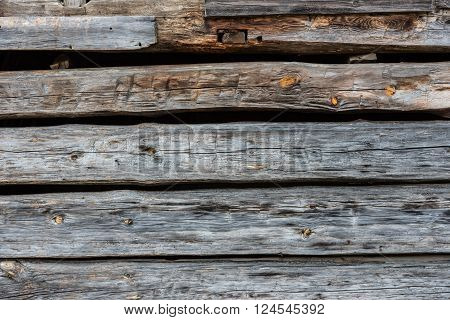 Hand hewn log wall of aged wood background image