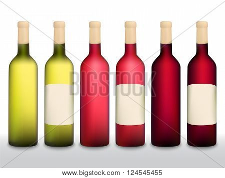 Wine Bottles Vector Set Red White Mesh Elements