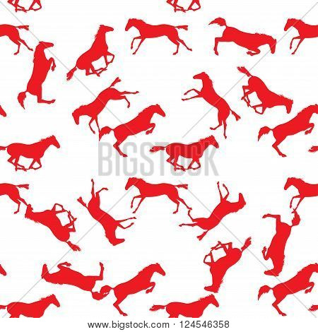 Simple horses vector illustration. Seamless pattern with silhouette of horse. Vector seamless pattern with horses. Red horse seamless pattern on isolated background