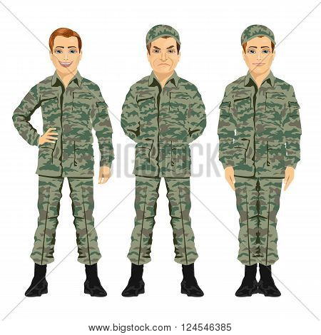 three army soldiers posing against white background