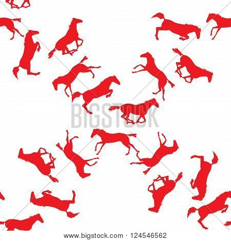 Background with many horses. Seamless pattern with silhouette of horse. Vector seamless pattern with horses. Red horse seamless pattern on isolated background