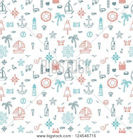 Hand drawn nautical seamless pattern of marine symbols. Cartoon marine icons. Vector illustration