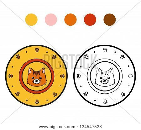 Coloring Book For Children. A Plate With Cat