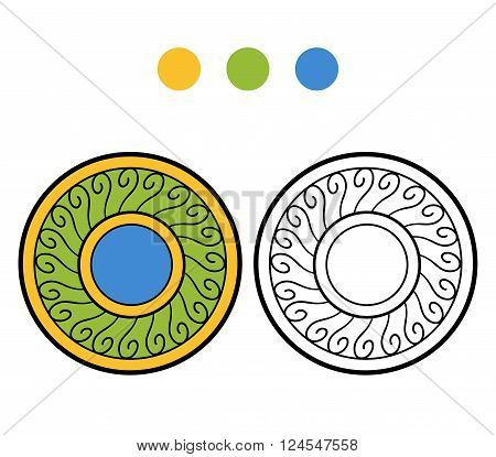 Coloring Book For Children. A Plate With Geometric Pattern