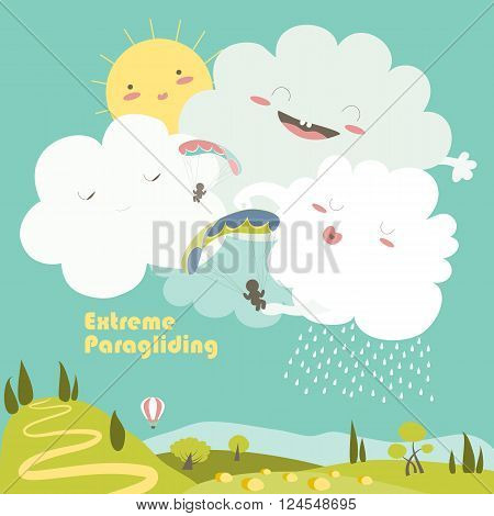 Two paragliders on sky with cute clouds. Vector illustration