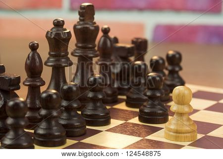 Chess Board With Game In Play