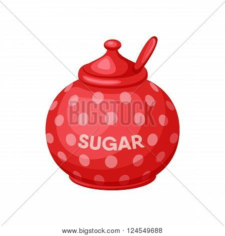 Sugar bowl. Sugar bowl with spoon. Baking and cooking Ingredients. Sugar bowl cartoon vector. Drink tea. Organic food. Sugar bowl set illustration. Kitchen utensils.