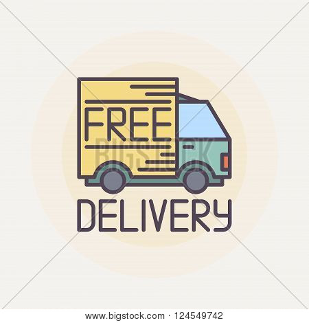Free delivery truck illustration - vector flat delivery design symbol or sign