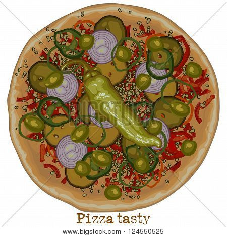 pizza with bell pepper, onions and other vegetables, freehand drawing