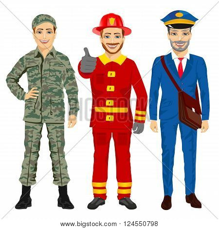 Soldier, fireman and postman characters. Different public service and military professions on white background