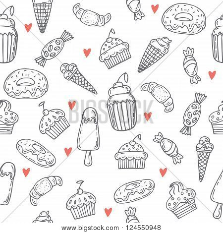 Hand Drawn Seamless Pattern With Sweets, Cupcakes, Bakery, Cakes And Desserts. Sweet Desserts Backgr