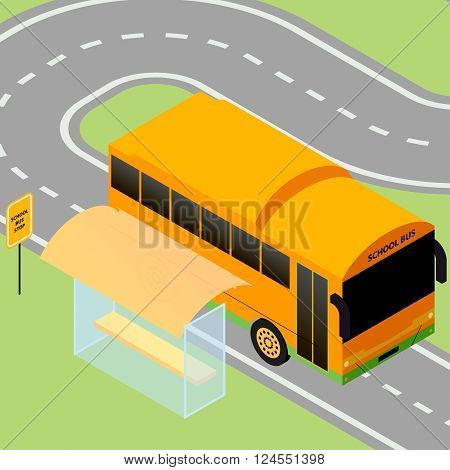 Vector isometric illustration of a school bus pulls up to the school bus stop for school drop-off