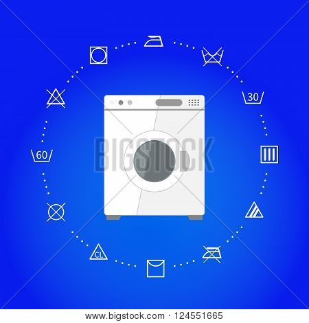 White wash machine with laundry icons on blue, square illustration