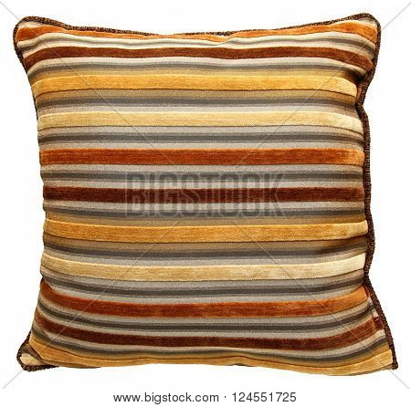 Close up Pillow with Brown, Yellow, Orange, Tan  Stripes isolated over white.