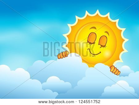 Cloudy sky with lurking sun 4 - eps10 vector illustration.