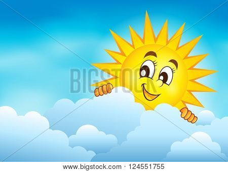Cloudy sky with lurking sun 3 - eps10 vector illustration.