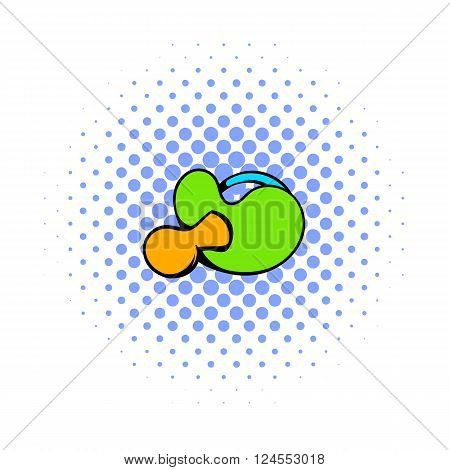 Baby pacifier with green handle icon in comics style on a white background